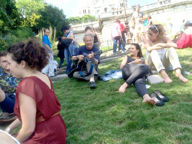 With music friends from Strasbourg at La fête de la musique - Montmartre, Paris.